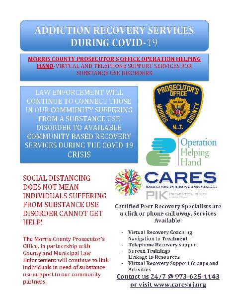Recovery Services during COVID Morris County