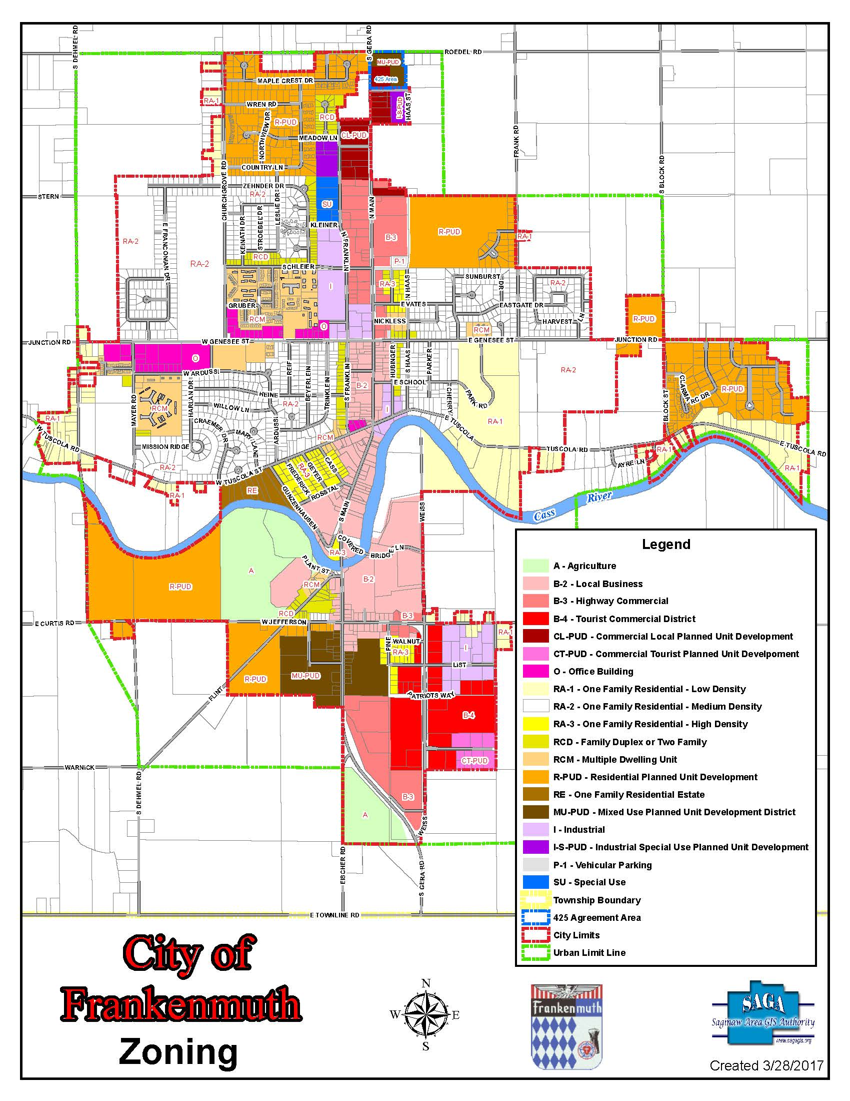 Frankenmuth City Zoning Map