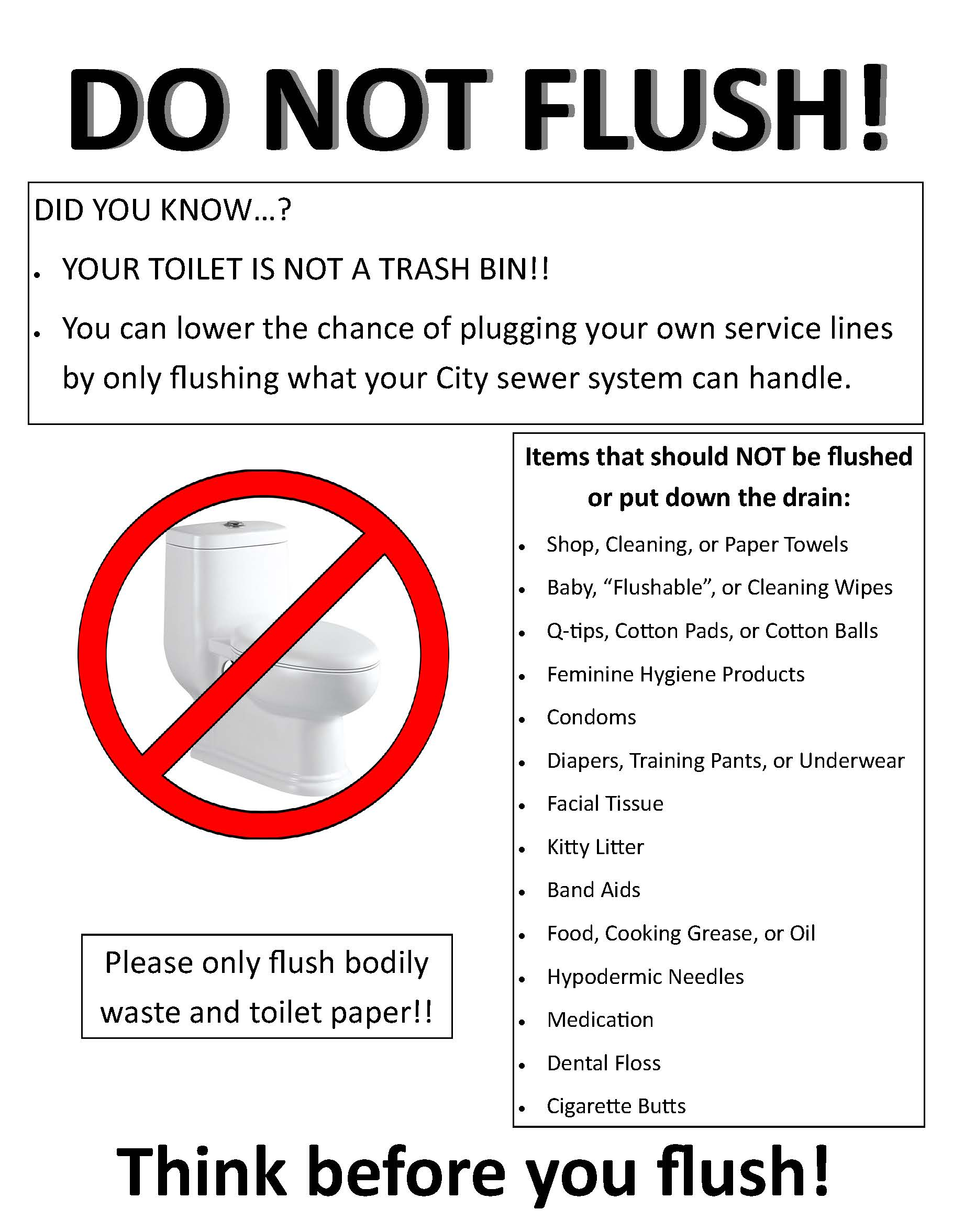 List of items that should not be flushed