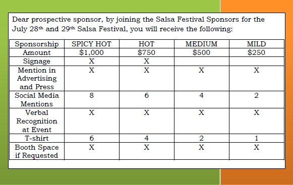 salsa sponsor packages