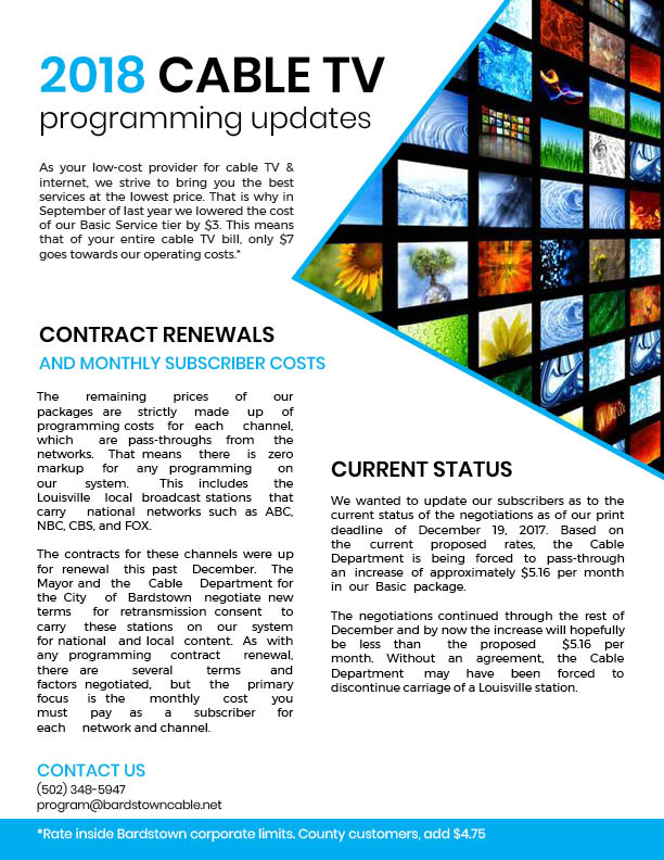 2018 Cable Update Page 1
