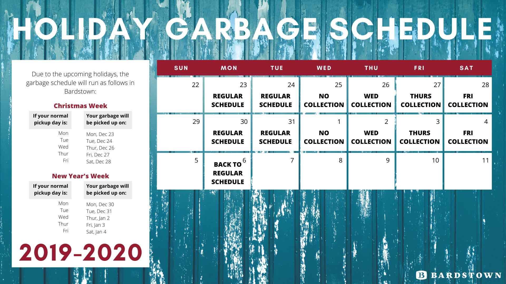 2019-20 Holiday Garbage Schedule