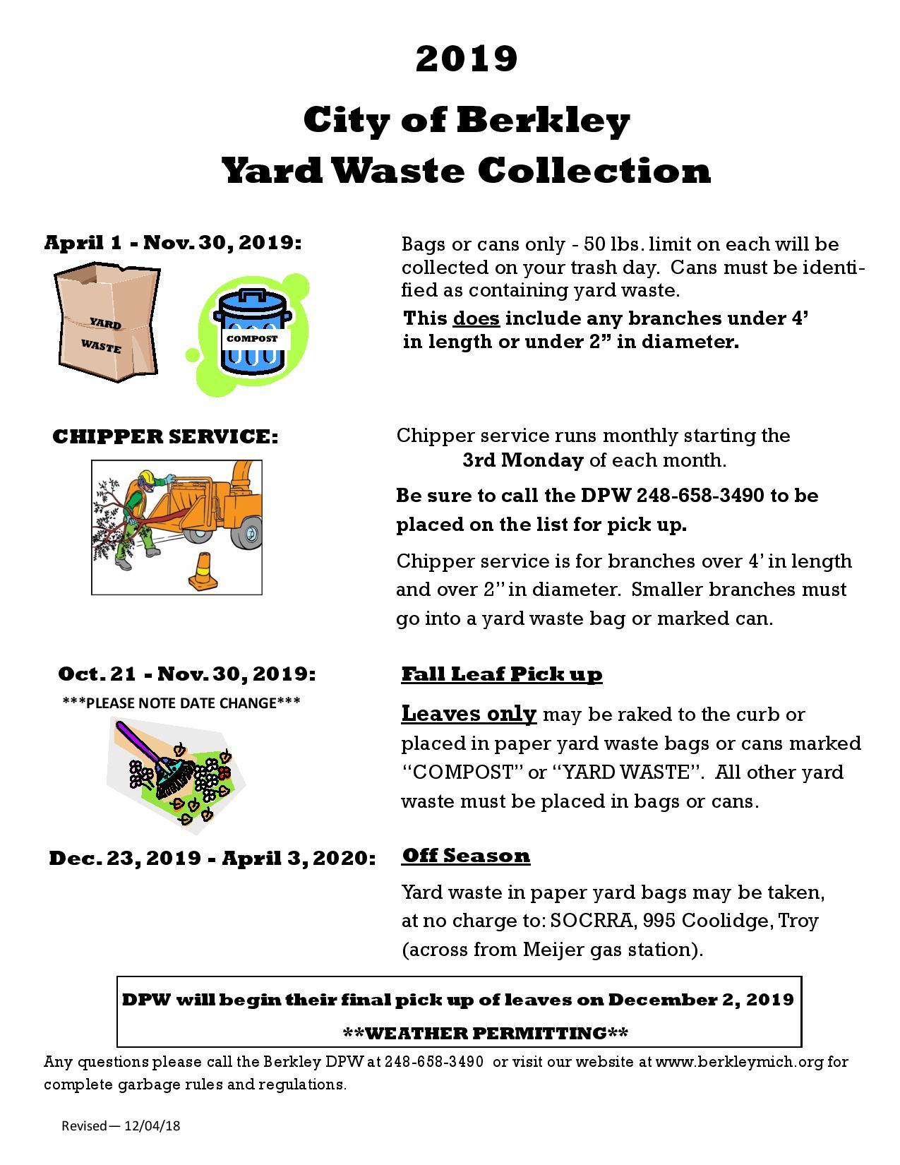 2019 Yard Waste Collection Schedule