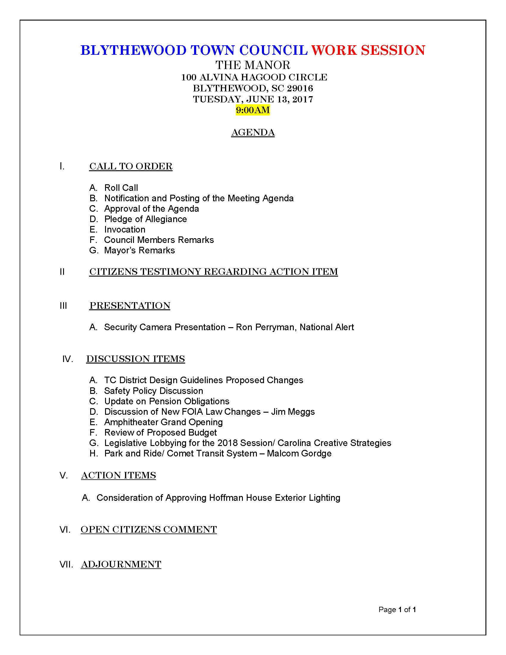 TC  Work Session Agenda  06-13-2017