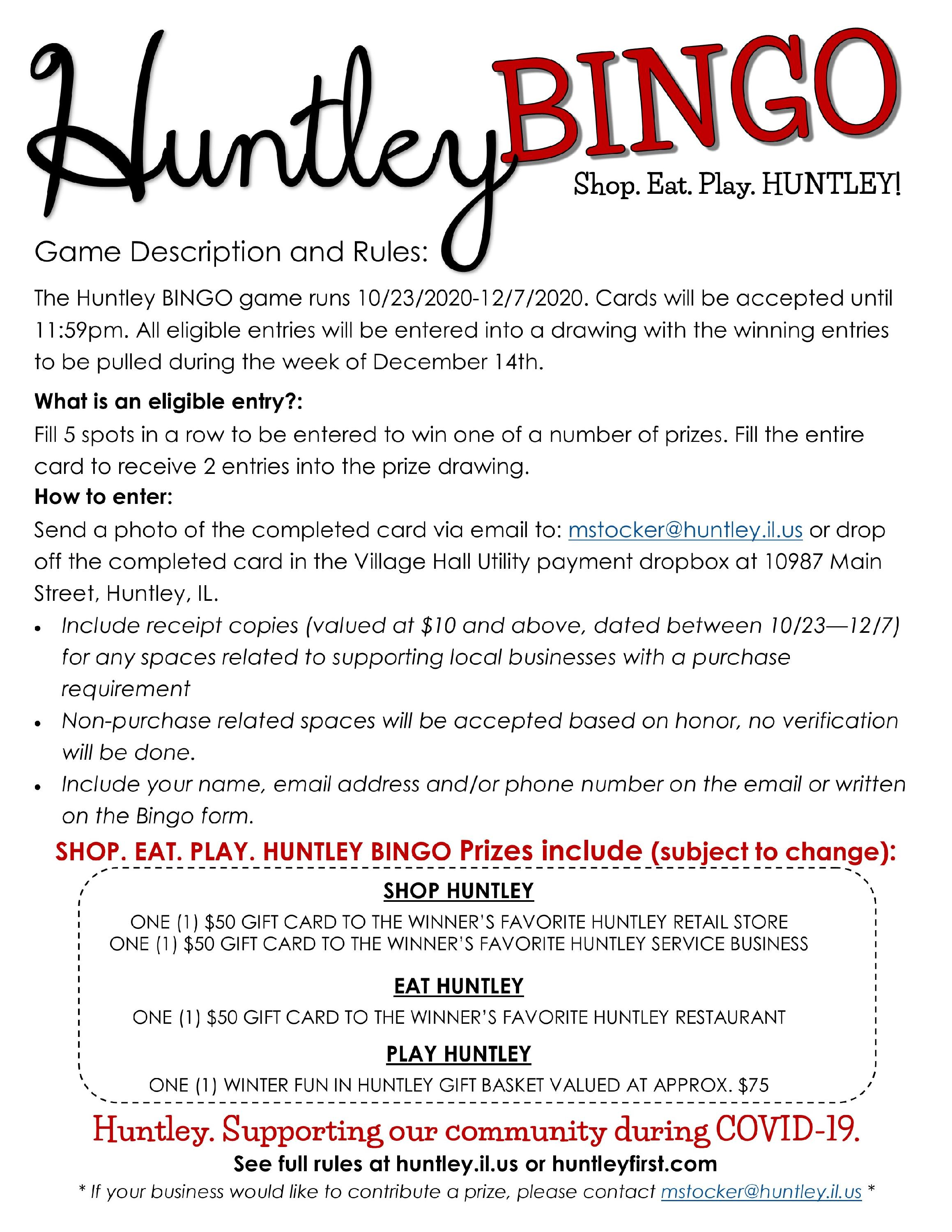 Huntley Bingo Fall 2020 Description and Rules