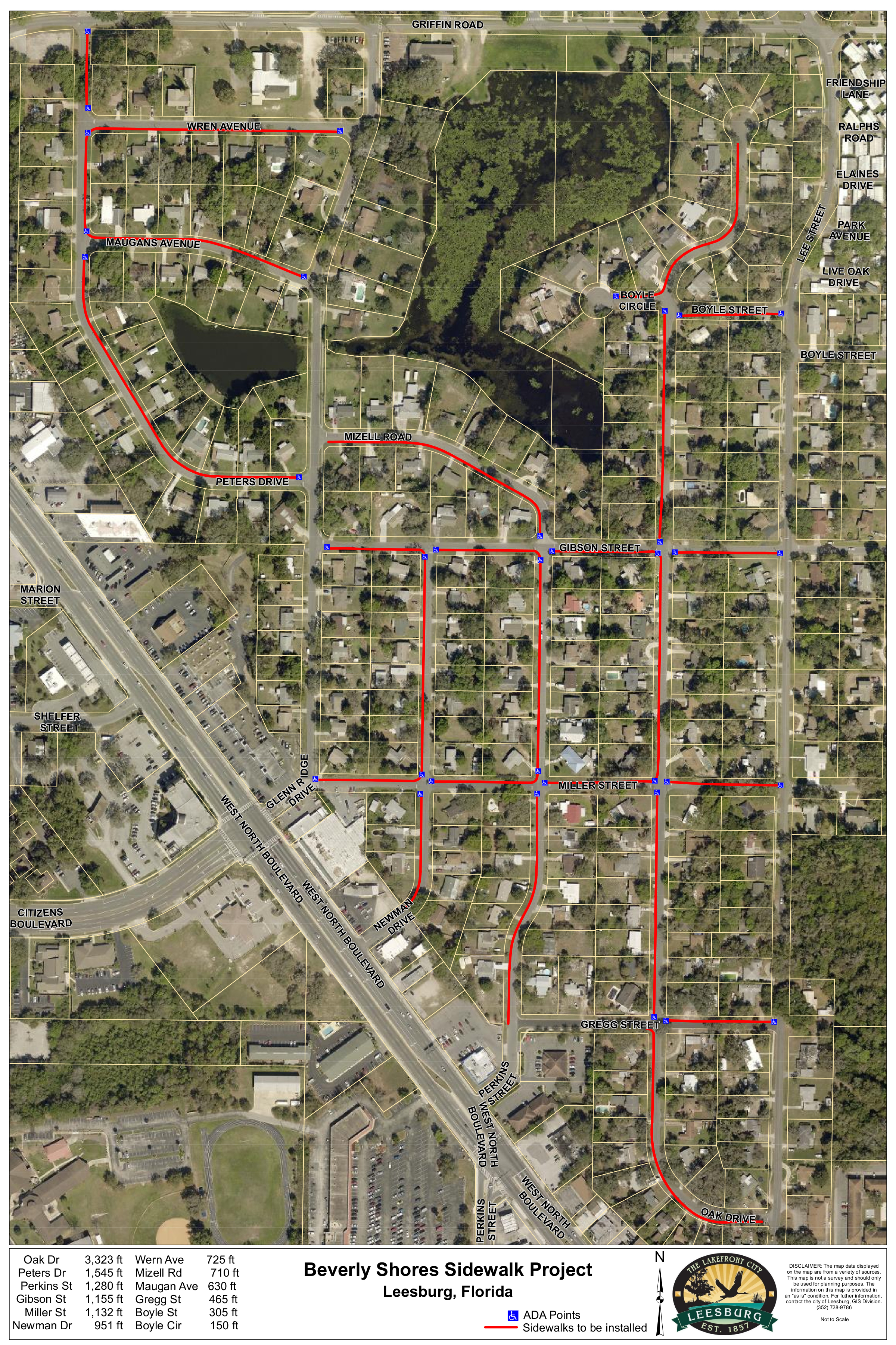 Map of sidewalk plan for area south of Beverly Shores Elementary