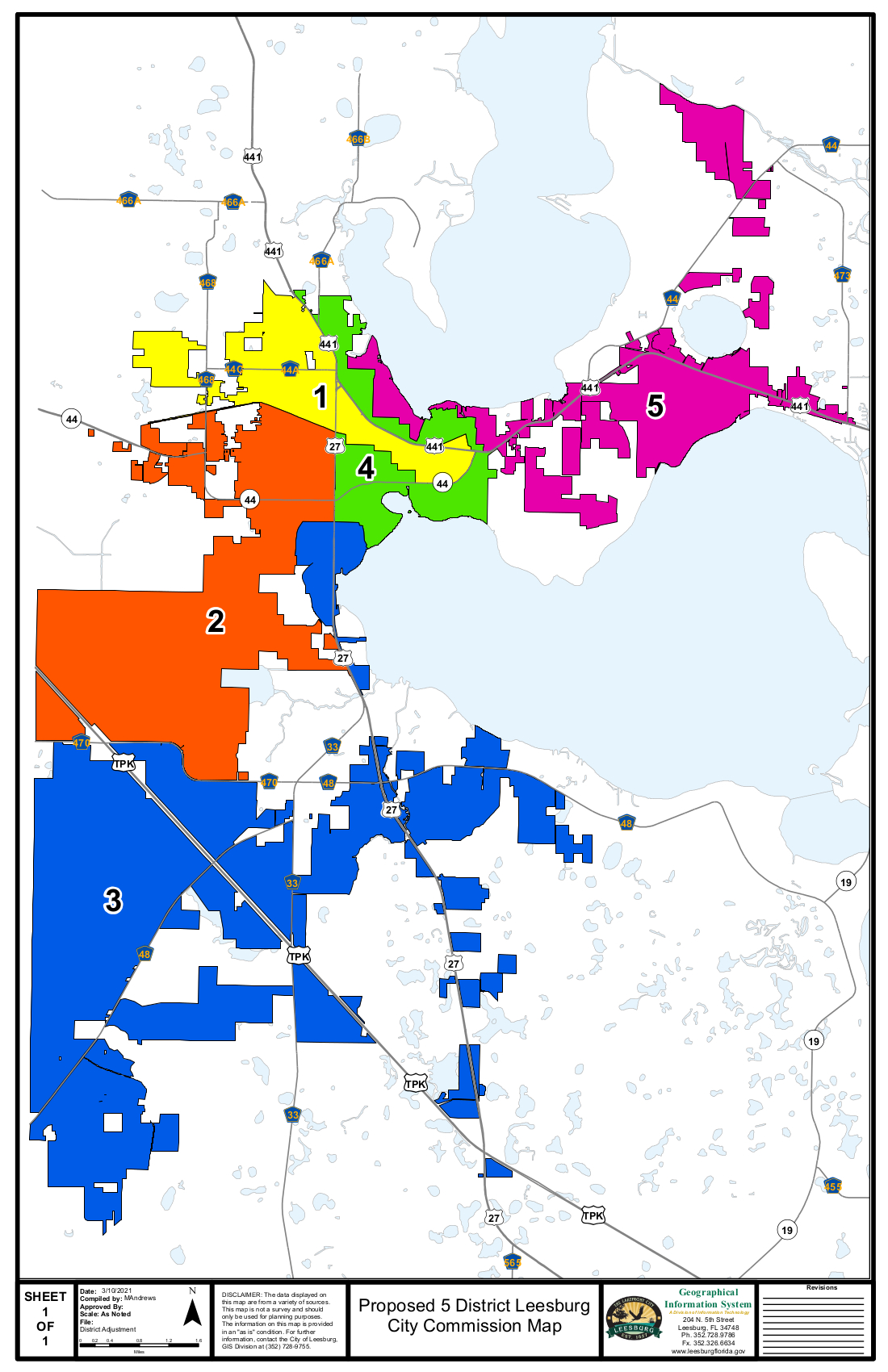 Proposed City Commission 5 Single-Member District Map showing major highways