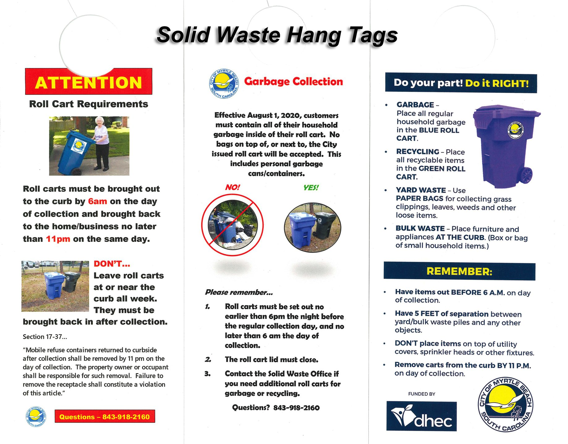 Solid Waste Hang tag 2020