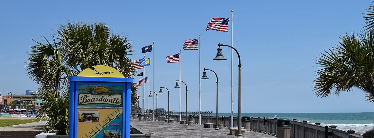 Boardwalk pic with flags