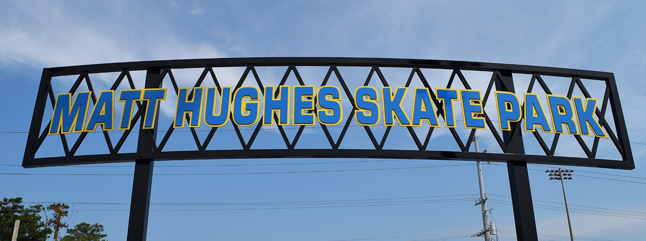 Matt Hughes Skate Park Sign