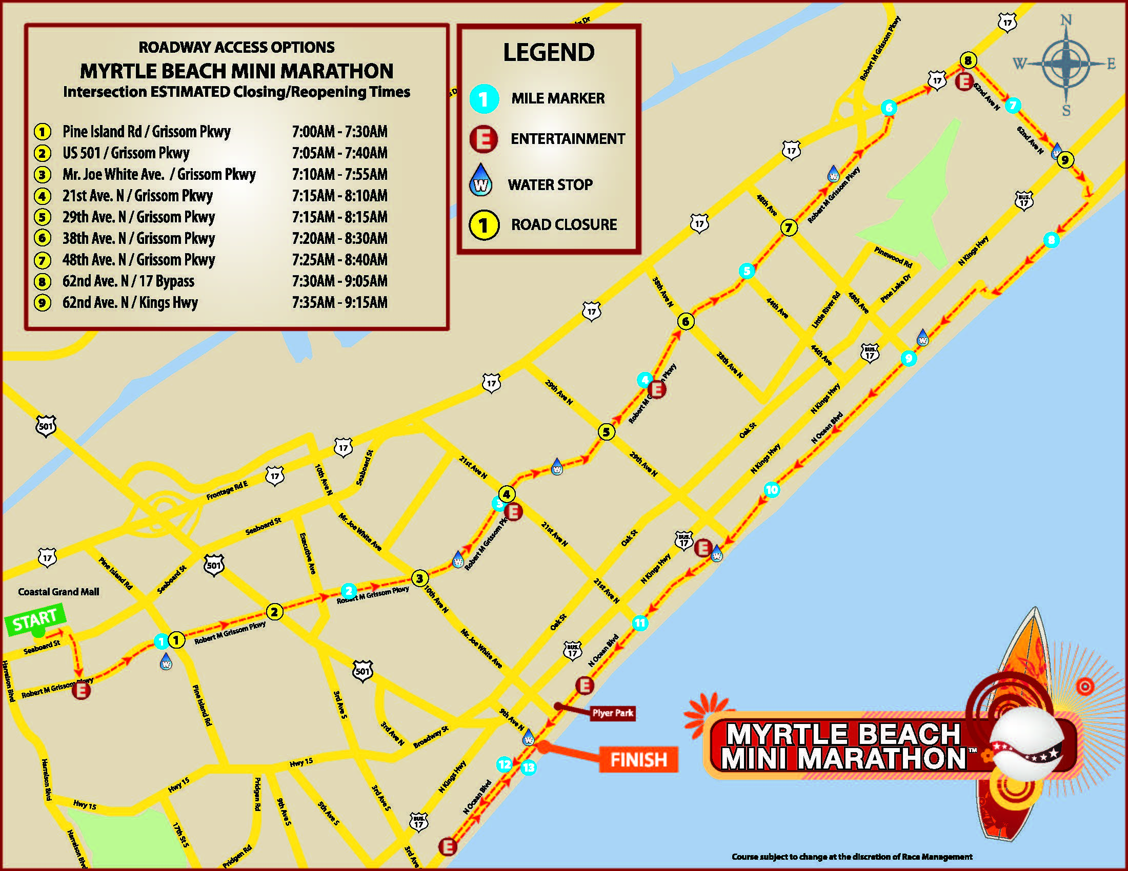 Myrtle Beach Mini Marathon Map with Times 2018