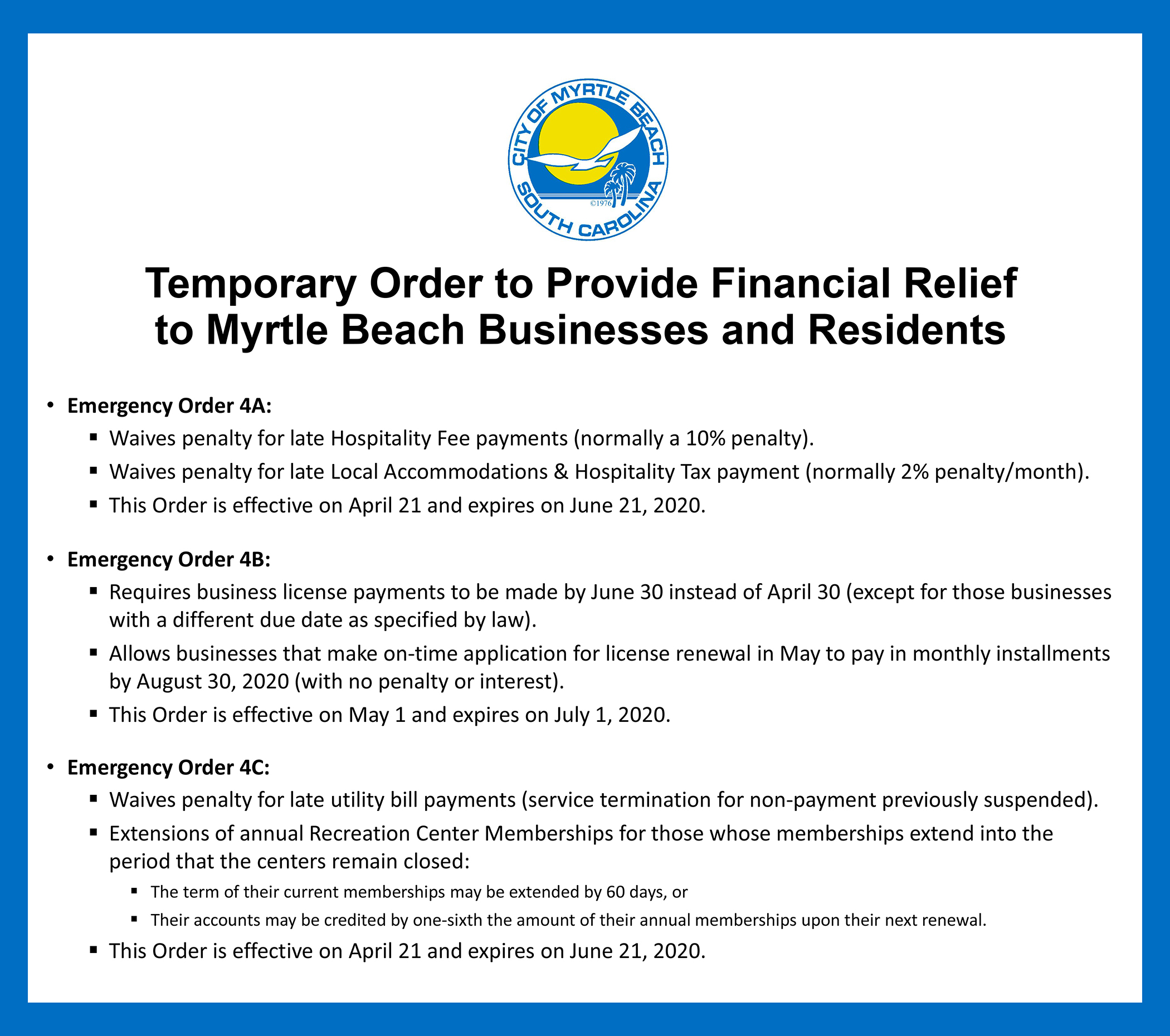 Orders to Provide Financial Relief