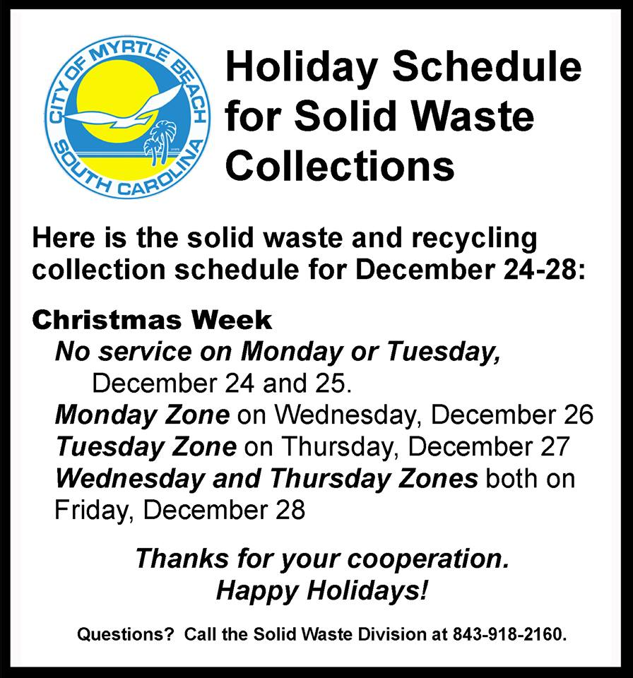 Solid Waste Holiday schedule 2018