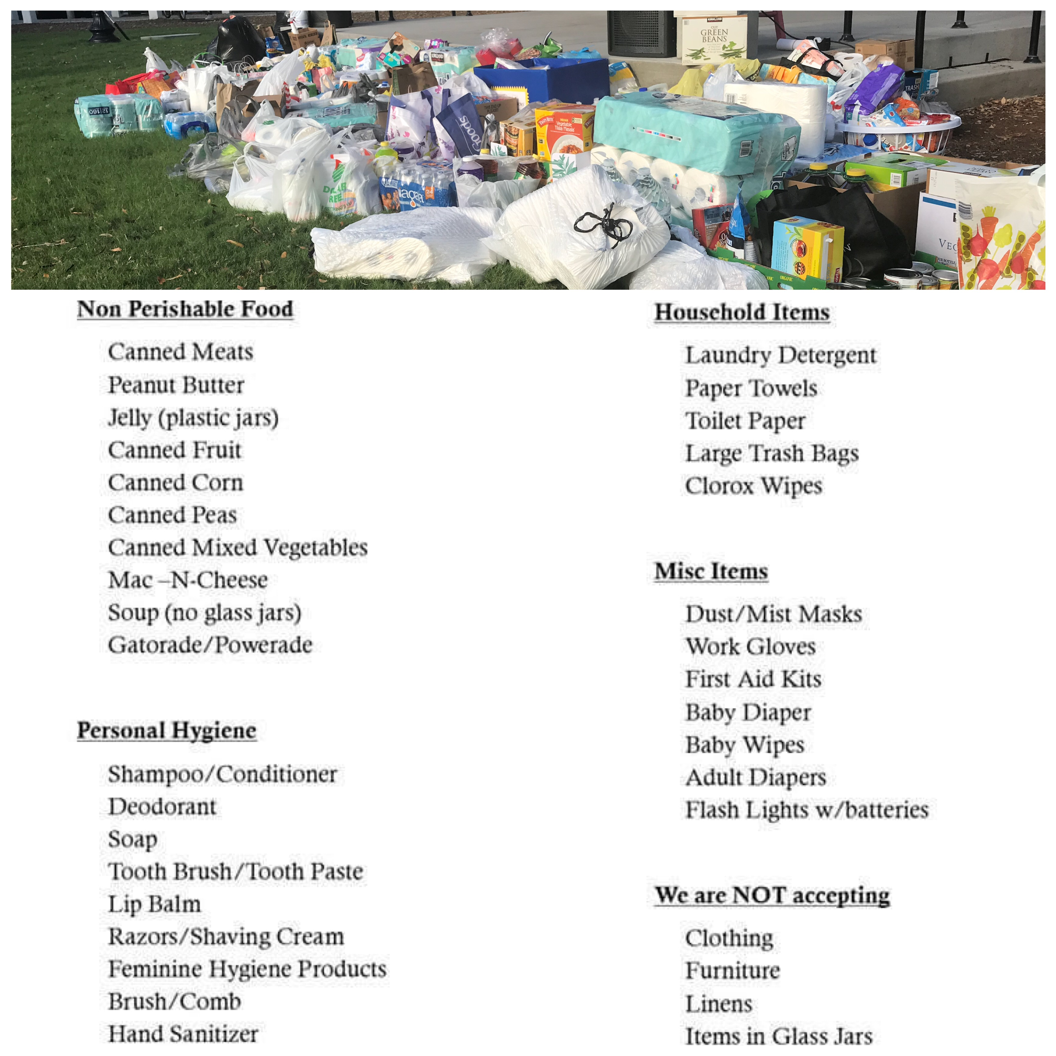 flood relief drop off locations