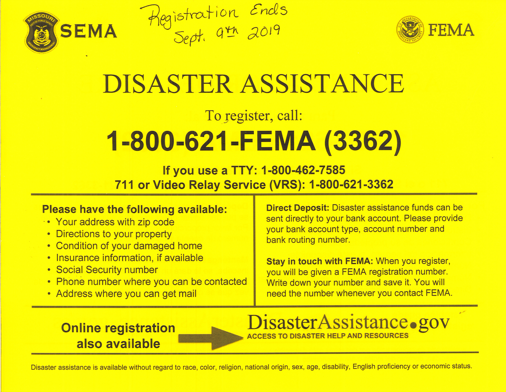 FEMA Disaster Assistance Flier (English)
