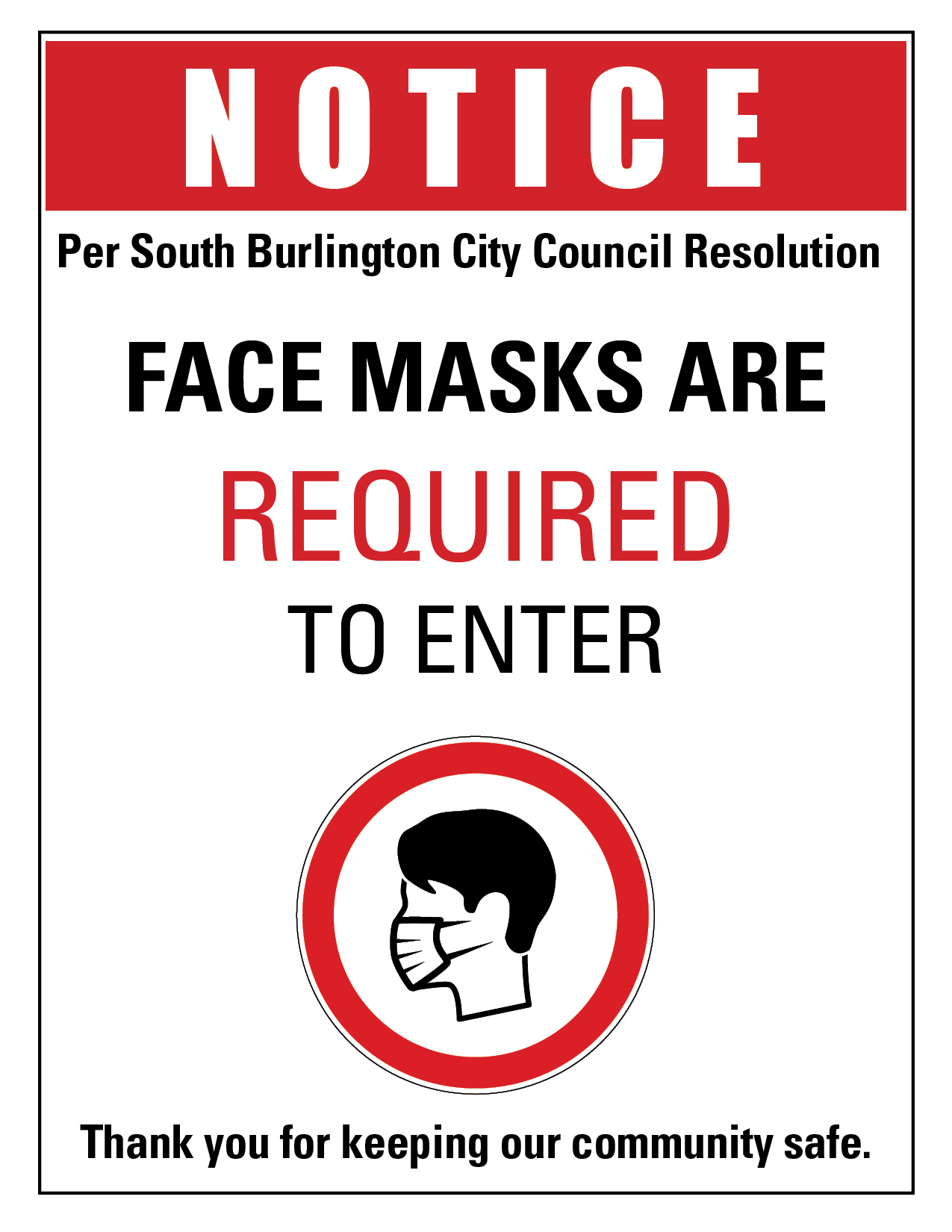 Face Masks Required - 8.5 X 11 - SoBu CC