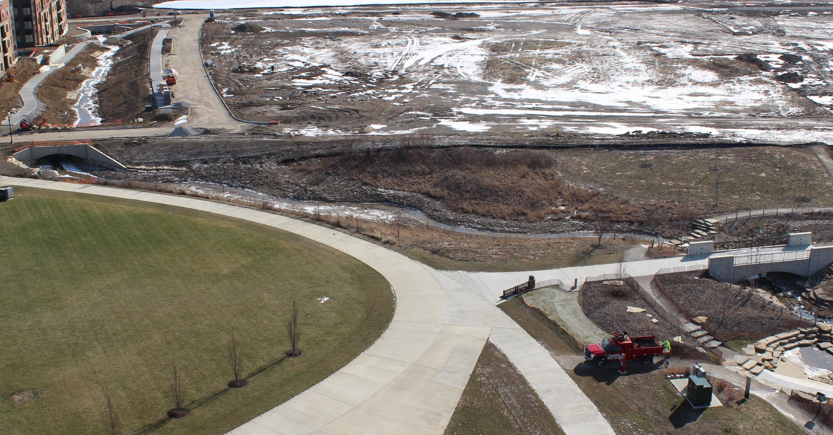 The grant funding will be used to restore the creek area in the center of the picture